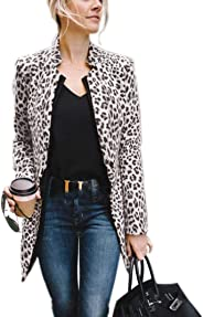 Mekiyo Women´s Open Front Leopard Jacket Long Sleeve Leopard Blazer Cardigan Coat of Office Suit Casual Outwear