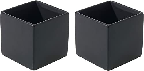 Matte Black Square Vase – Set of 2 – 3.25 x 3.25 Inches – Ceramic Urban Decor Pot – Small Modern Cube Planter for Office or Home