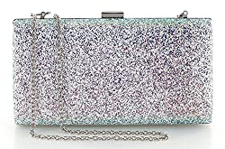 Yuenjoy Womens Shiny Sparkle Glitter Sequins Evening Bags Clutch Purse with Chain (Purple)