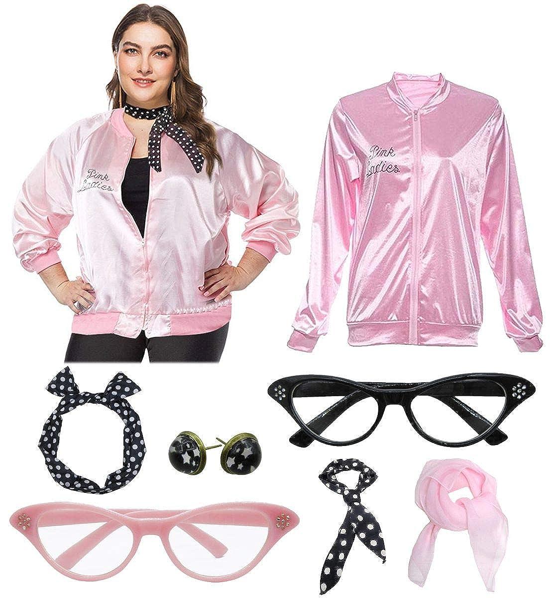 1950s Women Plus Size Pink Ladies Jacket with Cat Eye Glasses Headband Set