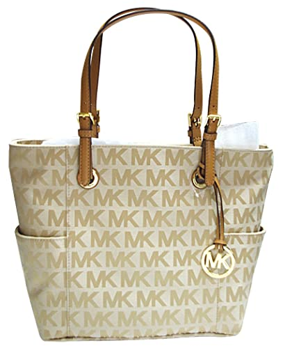 080fb43739fd Amazon.com  Michael Kors East West Signature Tote MK Signature Jacquard  Beige