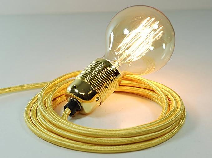 Bombilla globo, Cable conector de Tela de 4 m, color dorado ...