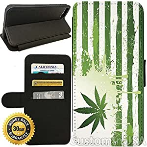 Flip Wallet Case for iPhone 8 (Mary Jane American Weed Flag) with Adjustable Stand and 3 Card Holders | Shock Protection | Lightweight | Includes Free Stylus Pen by Innosub