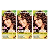Garnier Nutrisse Nourishing Hair Color Creme, 60 Light Natural Brown (Acorn), 3 Count