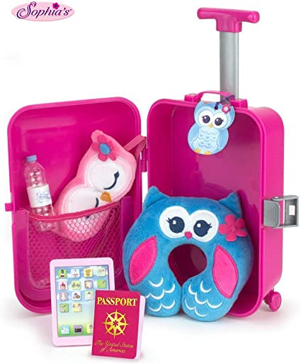 Gift for Girl Doll Travel Luggage Suitcase Playset for American Girl Dolls 7 Pcs