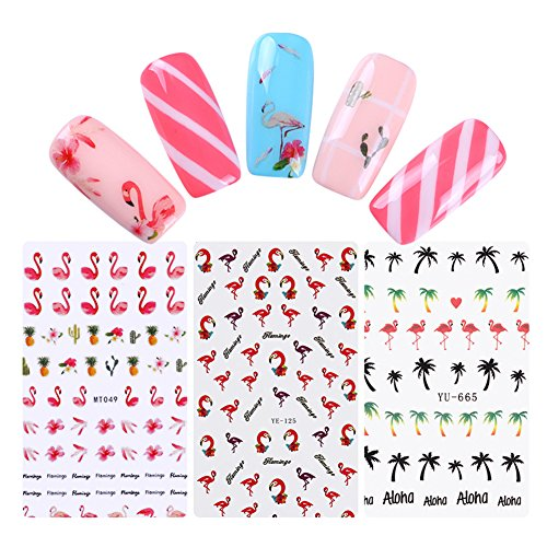 BONNIESTORE 7 Sheets Nail Transfer Sticker Flamingo Series Water Decal Coconut Palm Tropical Fruit Foils Manicure Nail Art DIY Decoration