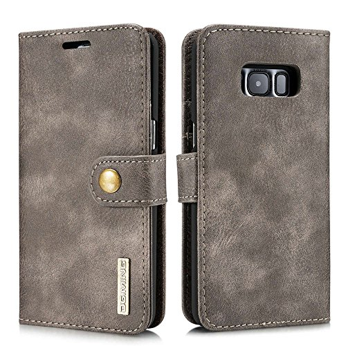 Galaxy S8 Case,DG.MING Magnetic Detachable 2 in 1 Vintage Genuine Cowhide Leather Folio Flip Wallet Cases Removable Retro 3 Card Slots Phone Back Cover for Samsung Galaxy S8 5.8 Inch (Grey)