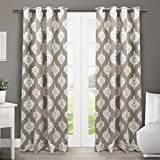 Exclusive Home Curtains Medallion Thermal Blackout Grommet Top Window Curtain Panel Pair, Taupe, 52x84