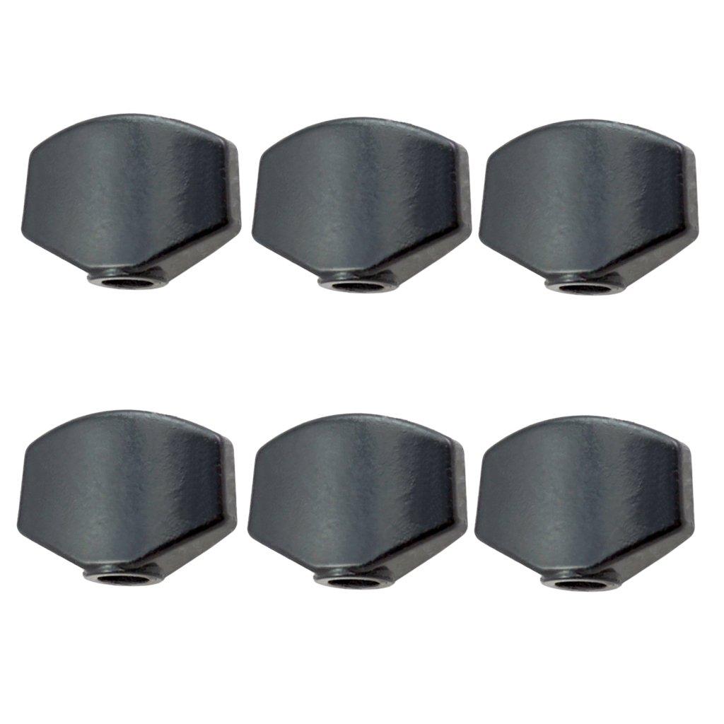 MagiDeal Electric/Acoustic Guitar Metal Tuner Tuning Pegs Button Cap Black 6pcs/Pack non-brand HNQHX0497DEA