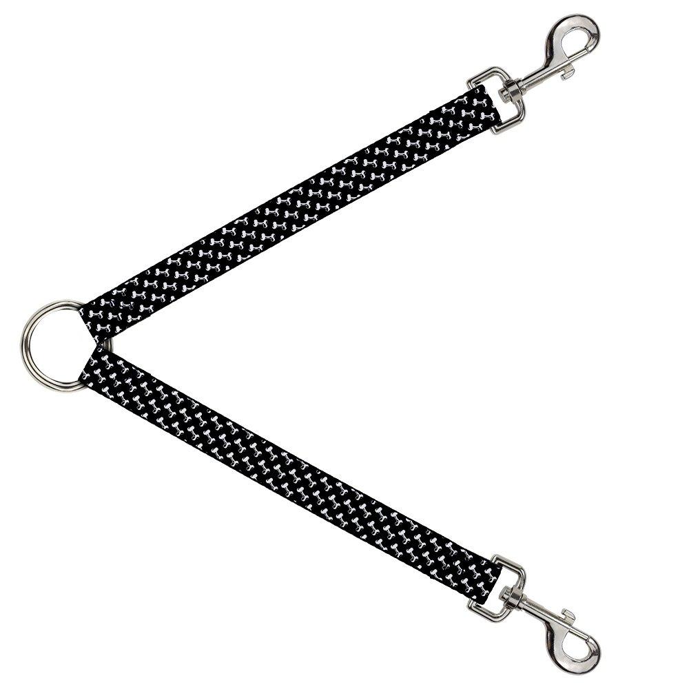 Buckle-Down DLS-W30454 Leash Splitter-Dog Bone Black White, 1  W-30  L
