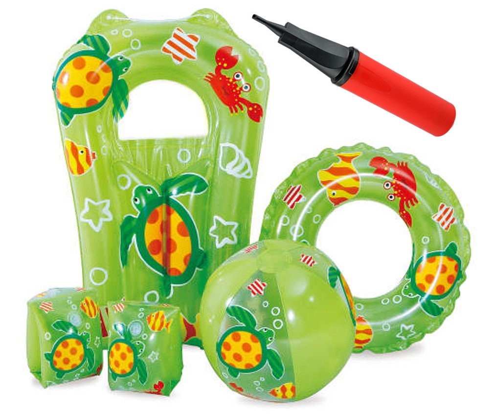 Kids Green Swimming Pool 5 Piece Set Inflatable Beach Ball Surfer and Inflatables Air Pump Ring 6 Piece Bundle Armbands