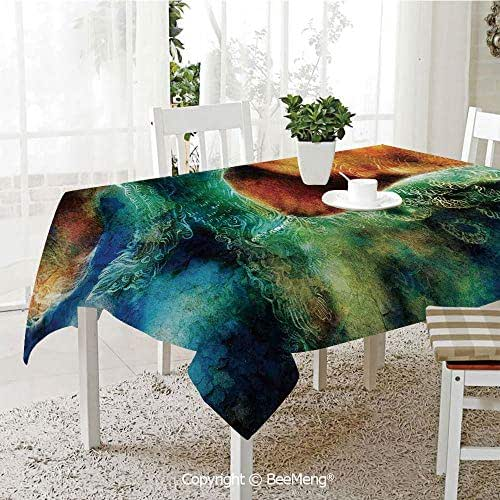 BeeMeng Spring and Easter Dinner Tablecloth,Mythical Phoenix Rebirth Long New Life from The Ashes Sun Exceptional Image,Multi59 x 83 inches
