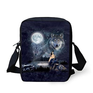 a3fd2b90f718 Amazon.com: Instantarts Moon Wolf Print Small Crossbody Bag Men Boy ...