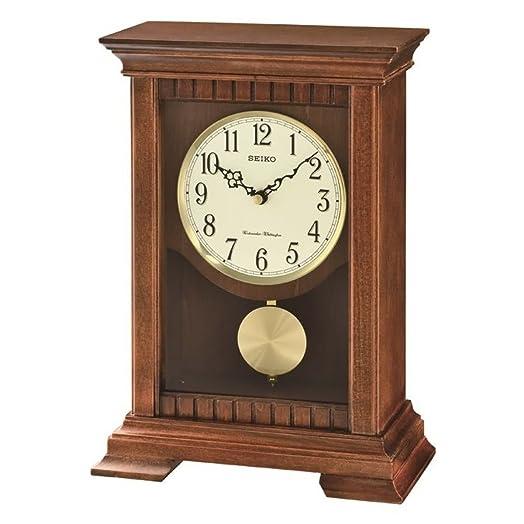 Seiko Analogue QXQ029B Table Clock With Pendulum Brown