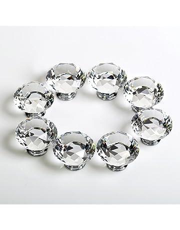 10 x 30 mm Diamante Cristal moebe lknoepfe Moebel Puerta de Vidrio tosco Pomo Armario Fahrradgriffe