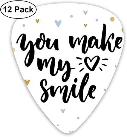 Guitar Picks 12-Pack,You Make My Heart Smile Lettering With Heart ...