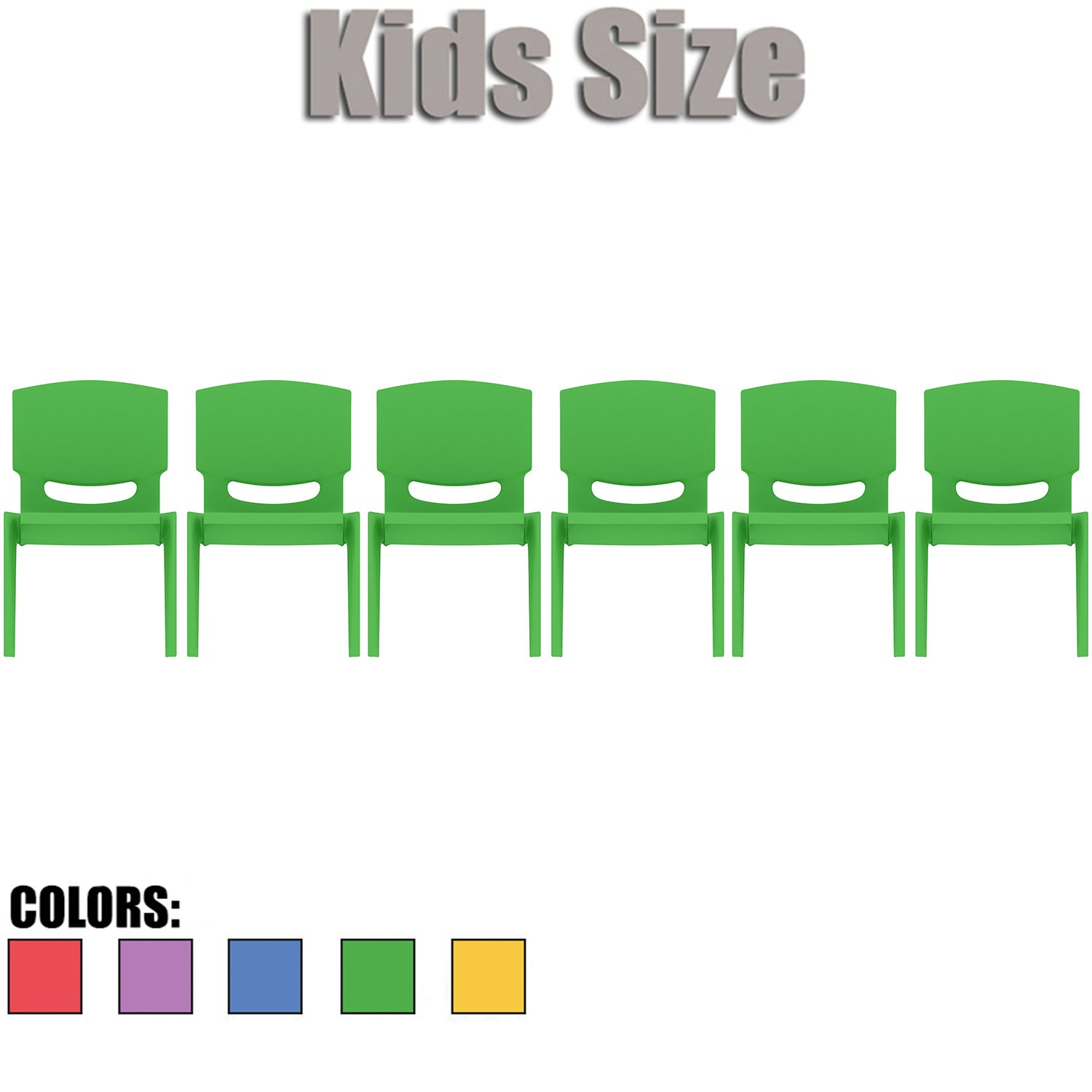 2xhome - Set of Six (6) - Green - Kids Size Plastic Side Chair 10'' Seat Height Green Childs Chair Childrens Room School Chairs No Arm Arms Armless Molded Plastic Seat Stackable