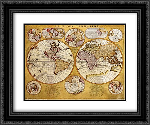 Antique Map - Globe Terrestre 2X Matted 20x24 Black Ornate Framed Art Print by Coronelli ()
