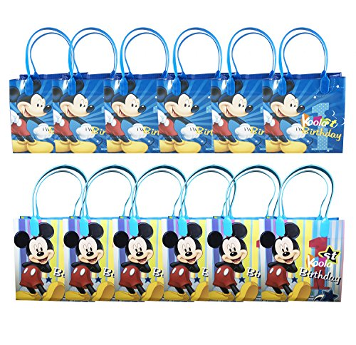 - 12pc Disney Mickey Mouse 1st Birthday Party Loot Bags Birthday Goody Fun Gift Bag