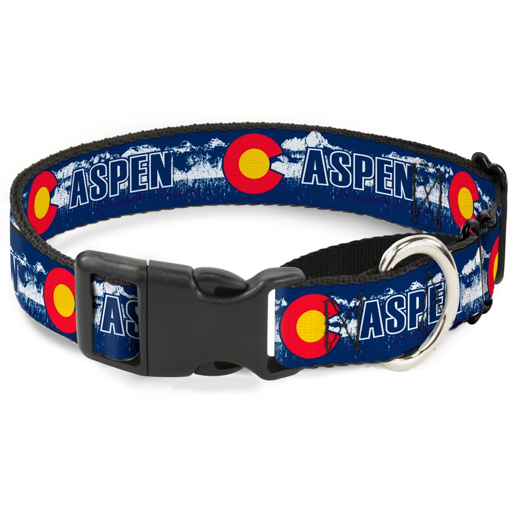 Buckle-Down MGC-W35585-M colorado Aspen Flag Snowy Mountains bluee White Red Yellow Dog Collar, Medium