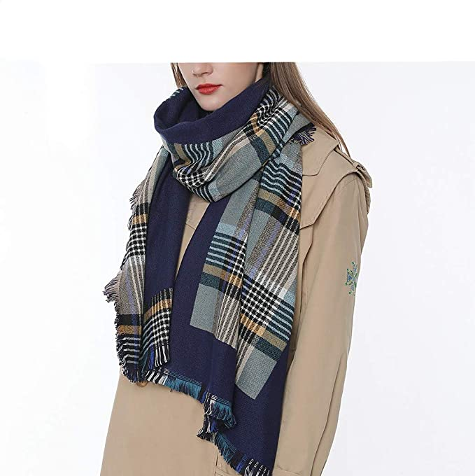 2d5e8b1df Womens Chic Tartan Plaid Checked Large Blanket Shawl Scarf Oversized Poncho  Wrap at Amazon Women's Clothing store: