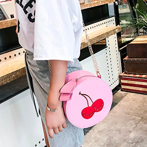 Shoulder Bag Clutches Women Vintage Bags Handbags Purses Messenger Girl Round Backpacks Anti Crossbody Pink VEMOW Tote Ladies Theft Strap Bags Print Satchel Purse Cherry awAYqAPU