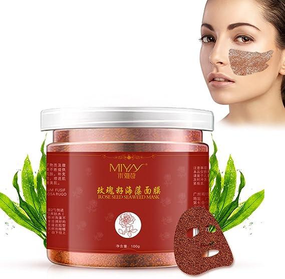 Mascarilla facial, 100g de algas marinas hidratante máscara facial blanqueamiento anti arrugas cuidado de la cara en polvo coreana comprimidas máscara de papel de bricolaje: Amazon.es: Belleza