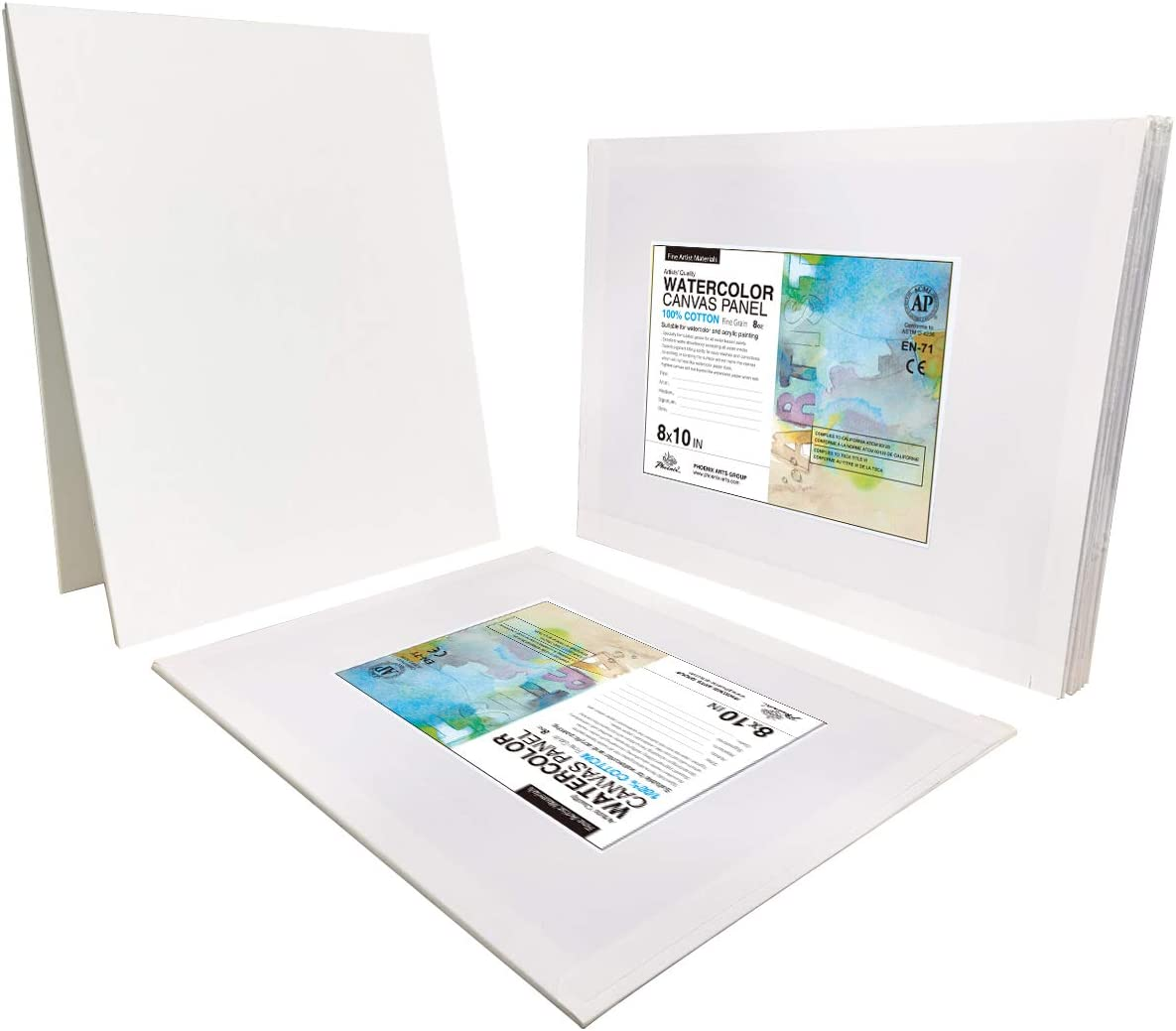 Triple Primed Cotton Canvas Boards for Watercolor Painting 5x5 Inch//12 Pack PHOENIX Watercolor Painting Canvas Panels