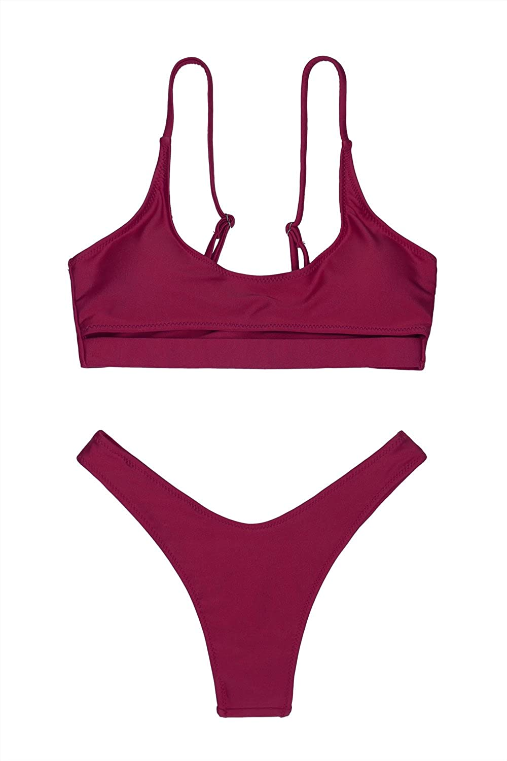 e9209f48be LEISUP Womens Cutout Crop Top High Cut Cheeky Two Piece Brazilian Bikini  Swimsuit