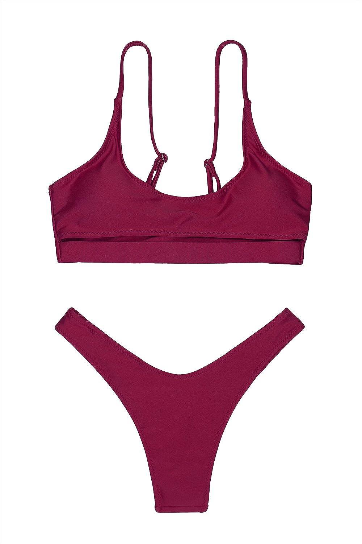 e9209f48be LEISUP Womens Cutout Crop Top High Cut Cheeky Two Piece Brazilian Bikini  Swimsuit