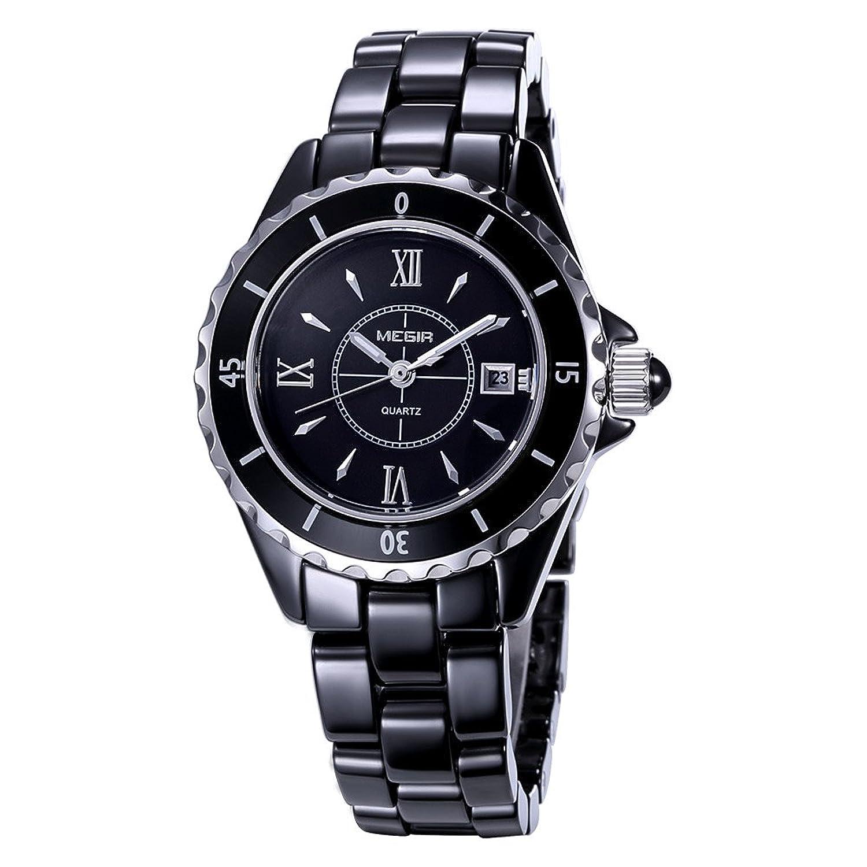 baogela Damen Fashion Schwarz Uhren mit Keramik Armband - Zifferblatt Luxus akzentuierten Kleid