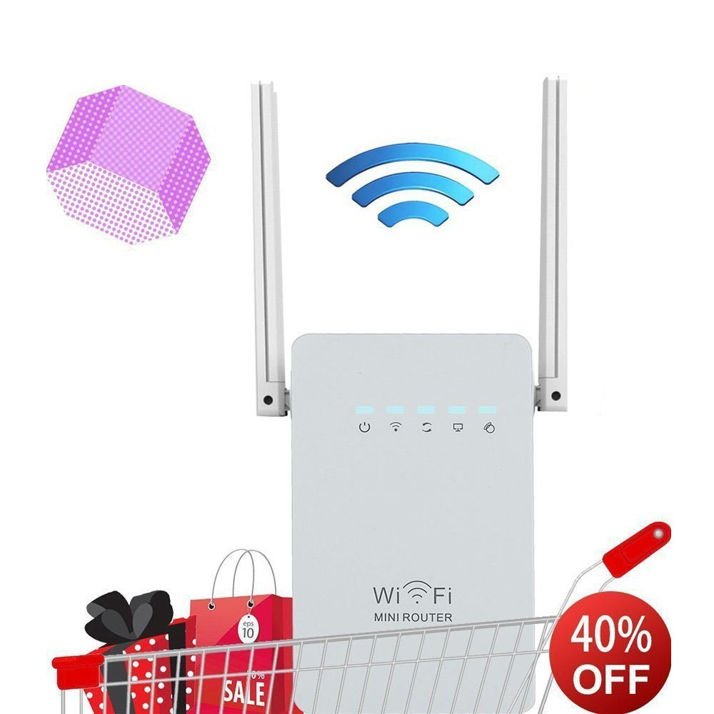 300Mbps WiFi Router Long Range Extender 2.4GHz WiFi Repeater Signal Amplifier Booster Network Extender with Dual Band Antenna Complies IEEE802.11n/g/b with WPS by WOSUK