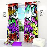 Curtains for Kids Teens Graffiti. Window Curtain Set of 2 Panels Each W42 x L84 inches Drapes Total W84 x L84 inches for Kids Teens Room