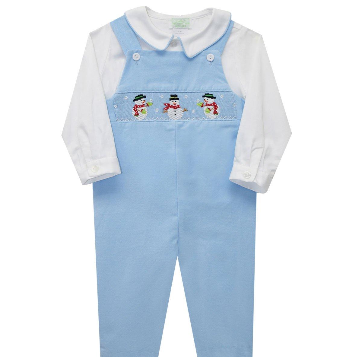 COLLECTION BEBE Snowman Smocked Boys Overall and Shirt Long Sleeve