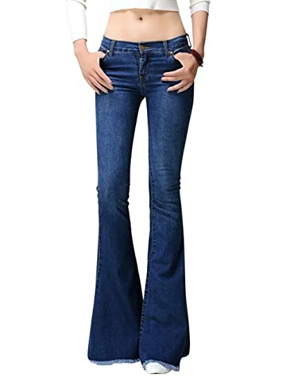 711fd914ae0804 Image Unavailable. Image not available for. Color: Dora Bridal Women's Low  Waist Bell Bottom Wide Leg Stretch Jeans Flared ...