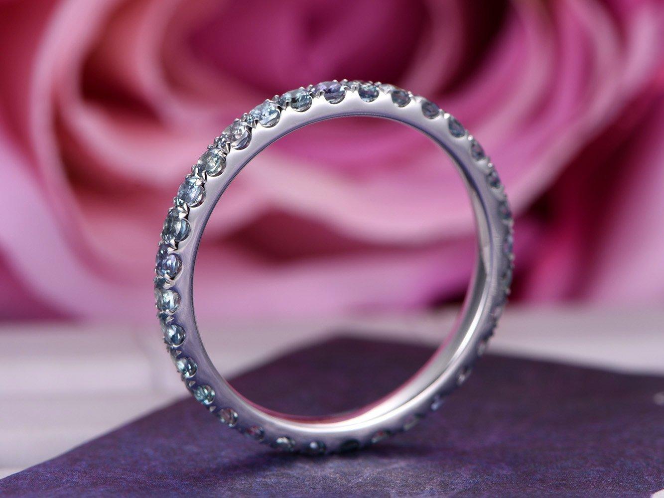 Amazon.com: Green Alexandrite Wedding Band Eternity Anniversary Ring ...