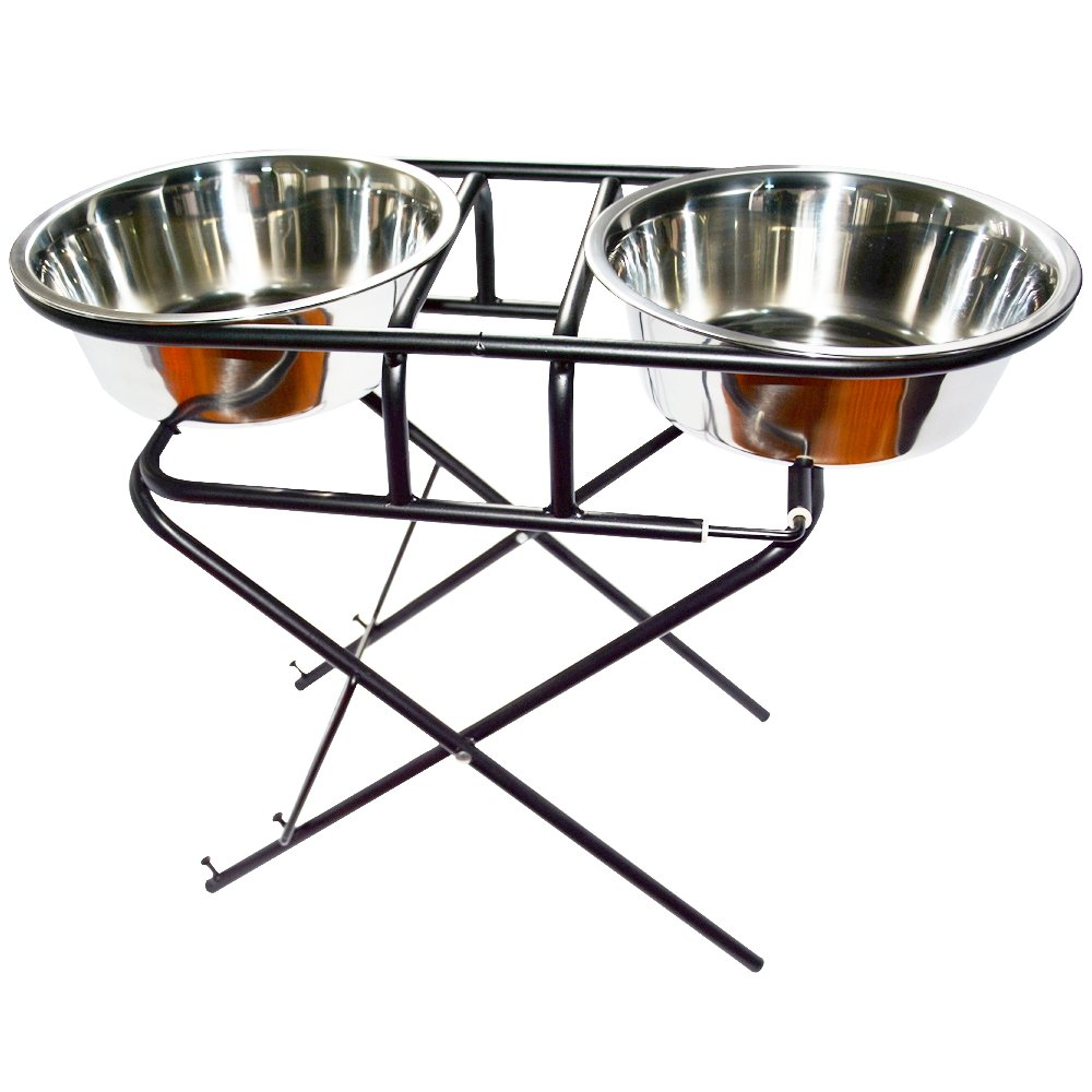 BeMiracle Adjustable Elevated Dog Stainless Steel Bowls with Stand for Pet