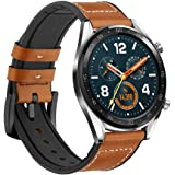 Leafboat Compatible Huawei Watch GT Strap,22mm Huawei GT Leather Straps,Soft Leather with Silicone Inside Huawei GT Replacement Strap with Quick-released Metal Buckle for Huawei Watch GT-Brown