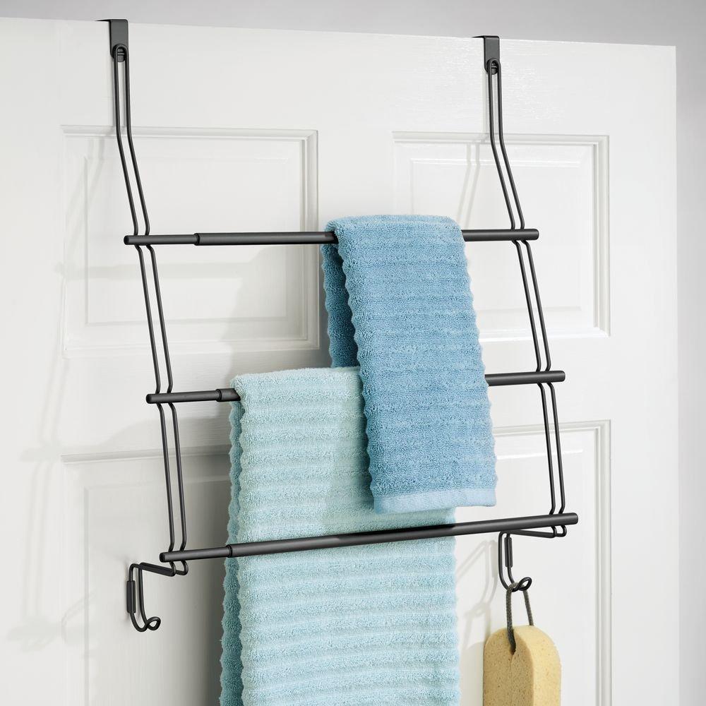Amazon.com: InterDesign Neo Over the Door Expandable Towel Rack with ...