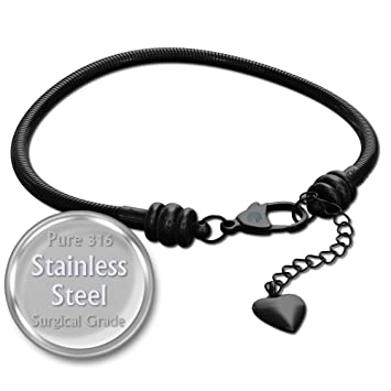 b8ca60bd71581 European Charm Bracelet For Women and Girls Bead Charms, Stainless Steel  Snake Chain, Black Claw 7 Inch