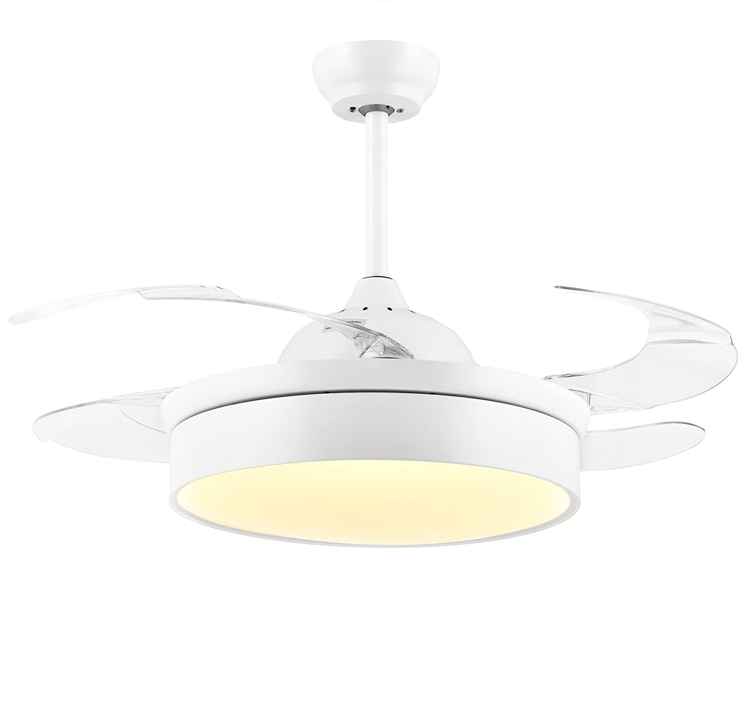 Cool white ceiling fans Light Noxarte 36 Inch Promote Natural Ventilation White Shade Invisible Fan Led Dimmable warmdaylightcool White Chandelier Foldable Ceiling Fans With Lights Online Lighting Noxarte 36 Inch Promote Natural Ventilation White Shade Invisible