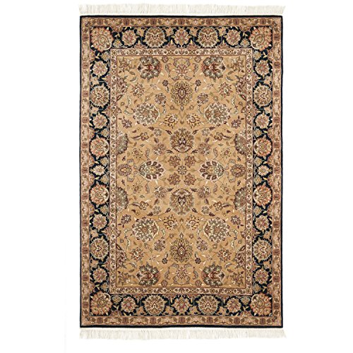 (Safavieh Royal Kerman Collection RK23A Hand-Knotted Light Gold and Black Wool Area Rug (8' x 10'))