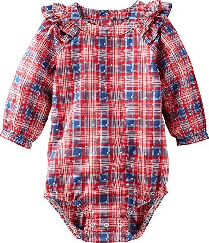 OshKosh BGosh Baby Girls Plaid Poplin Ruffle Bodysuit 12M