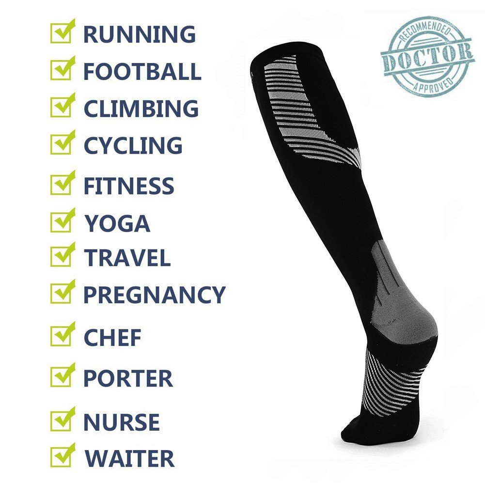 Compression Socks for Men & Women Best Stockings for Nurses, Workout, Running, Medical, Athletic, Edema, Diabetic, Pregnancy, Travel, Varicose Veins, Reduce Swelling, 20-30mmHg (Black Gray, 2XL/3XL) by Innoam (Image #4)