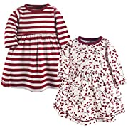 Touched by Nature Baby Girls 2-Pack Organic Cotton Dress, Berry Branch, 0-3 Months