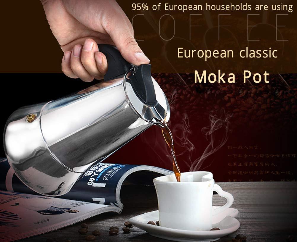 NARCE Stainless Steel Percolator Coffee Maker Stovetop Espresso Maker Moka Pot Coffee (9cup-450MLbroad base)