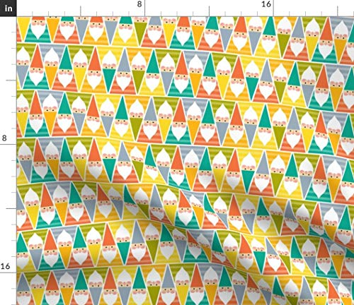 Spoonflower Geometric Gnomes Fabric - Colorful Geometric Gnomes Gnomes Gnome Dwarf Elf Colourful Child Geometrical Rainbow by Elena Naylor Printed on Petal Signature Cotton Fabric by The Yard