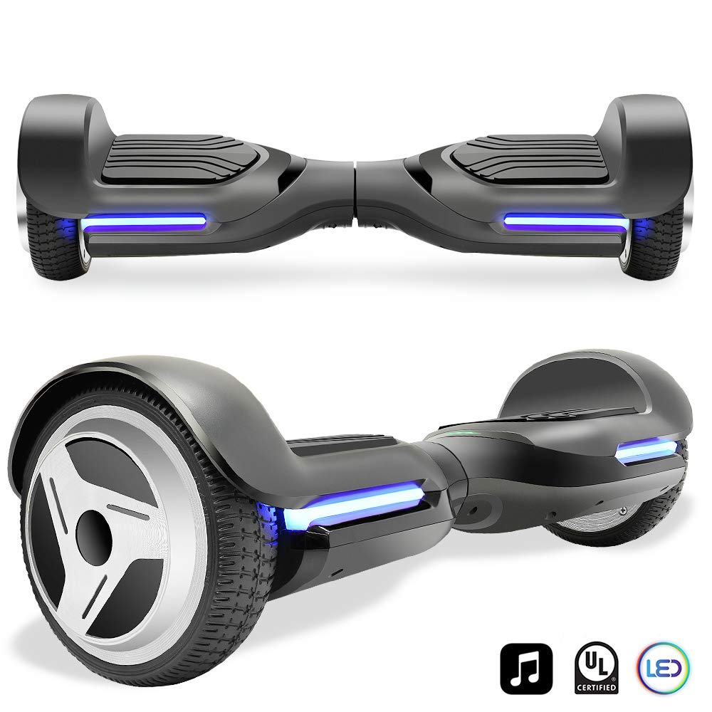 Cho Electric Self Balancing Dual Motors Scooter Hoverboard with Built-in Speaker and LED Lights - UL2272 Certified (-Black/Black)