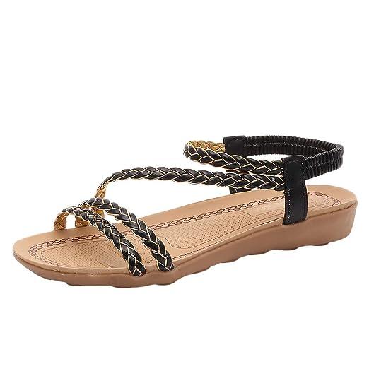 da8da32a1813fb Amazon.com  refulgence Women Roman Style Knit Woven Fish Mouth Back Elastic  Bandage Belt Flat Sandals Foreign Trade Shoes  Clothing