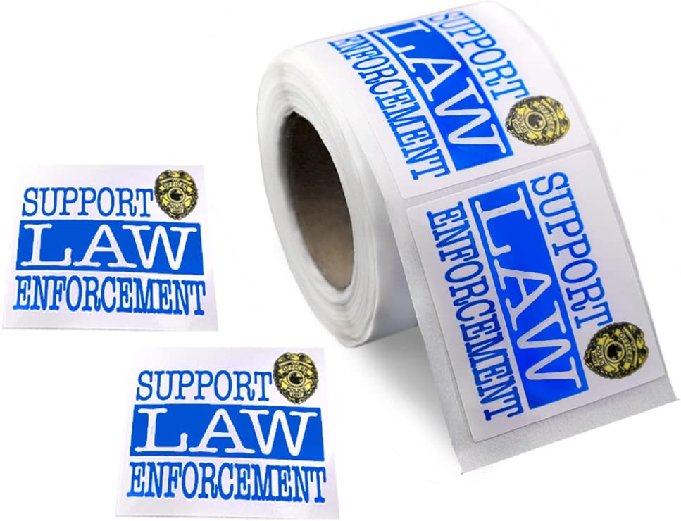 250 LEO Law Enforcement Rectangle Blue Line Stickers 250 Stickers